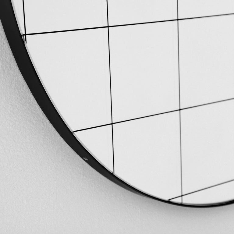 Etched Bespoke Contemporary Decorative Orbis with Black Grid Round Mirror Black Frame For Sale