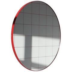 Orbis™ Red Grid Round Contemporary Mirror with Red Frame - Large