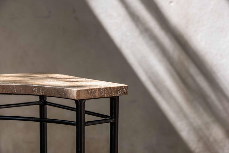 Bespoke Contemporary Travertine Corner Table, by Chapter-101 In New Condition For Sale In Dubai, AE