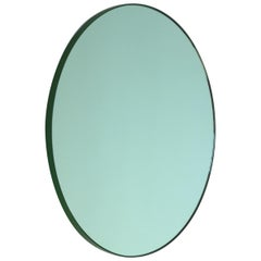 Bespoke Contemporary Green Tinted Orbis Round Mirror Green Frame, Large