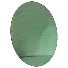 Orbis™ Green Tinted Round Frameless Minimalist Bespoke Mirror - Large