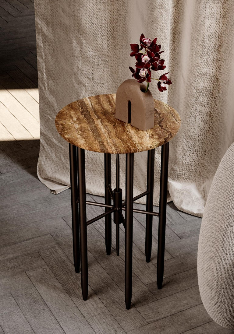 Exploring the anatomy of each design allows us to blend together the incredible diversity of the Middle Eastern culture into our Golestan series. Mirroring an architectural outline with our contemporary marble table, a disc-shaped dark brown marble