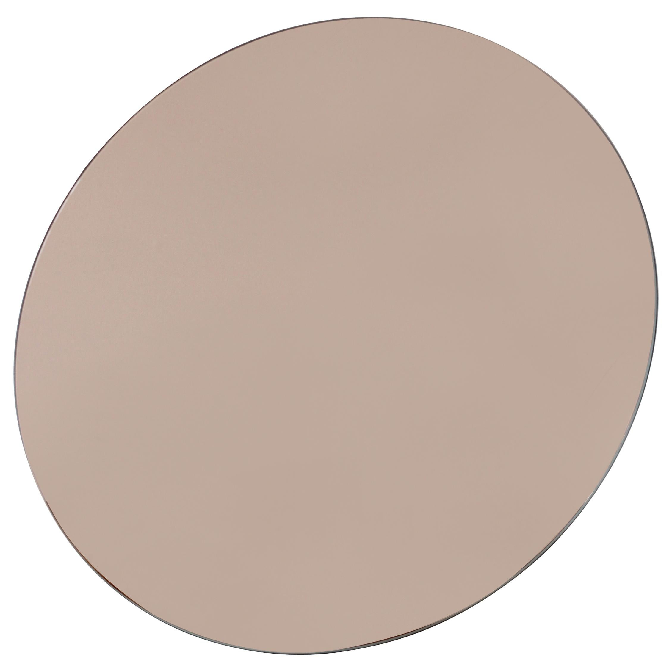 Orbis™ Rose / Peach Tinted Round Contemporary Bespoke Frameless Mirror - Large