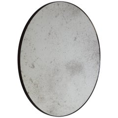 Orbis Silver Antiqued Bespoke Contemporary Round Mirror Patinated Frame, Large