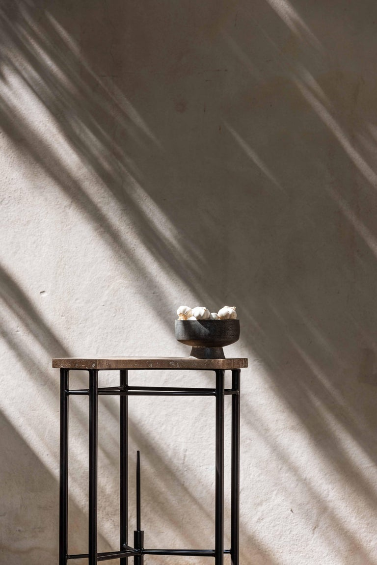 Hand-Crafted Bespoke Contemporary Travertine Corner Table, by Chapter-101 For Sale