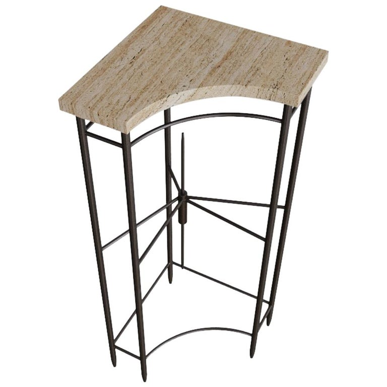 Bespoke Contemporary Travertine Corner Table, by Chapter 101 For Sale