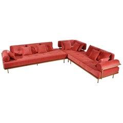 Bespoke Corner Sofa, Reclaimed Teak Wood, and Brass Frame, by P. Tendercool