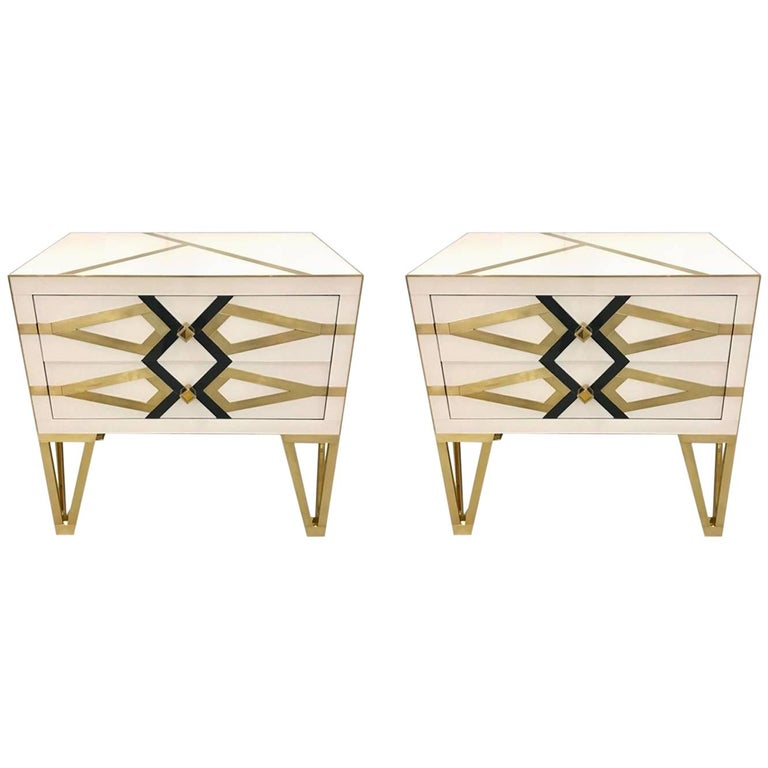 Bespoke Cosulich Creation Gold Brass Black & White Side Tables/Nightstands, Pair For Sale