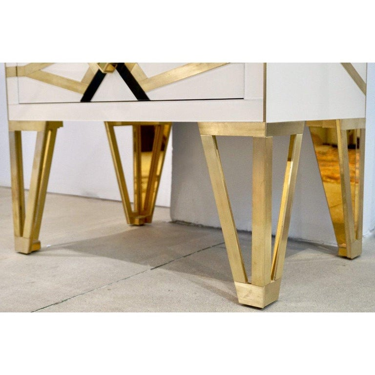 Bespoke Cosulich Creation Gold Brass Black & White Side Tables/Nightstands, Pair For Sale 2