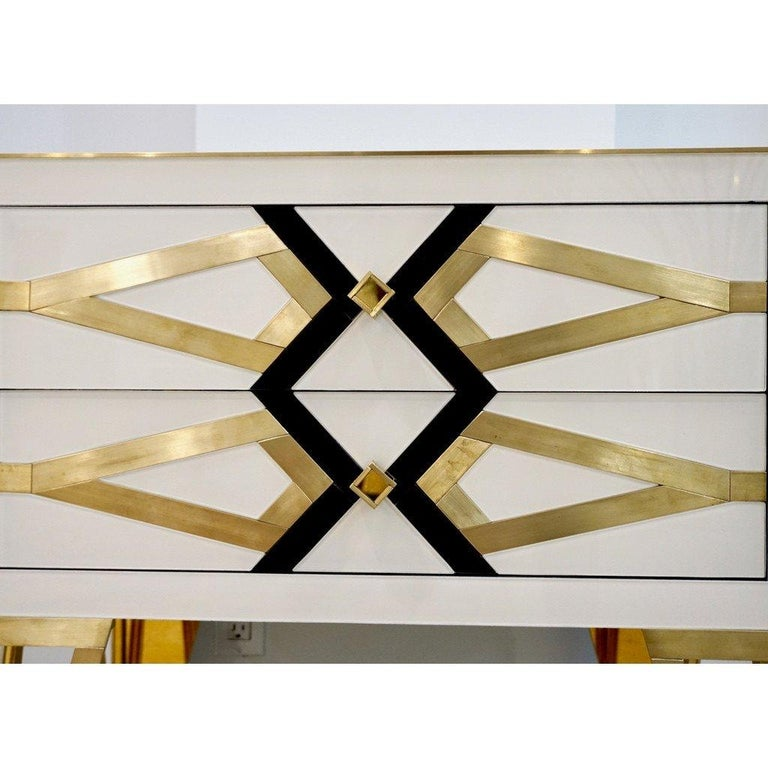 Bespoke Cosulich Creation Gold Brass Black & White Side Tables/Nightstands, Pair For Sale 3