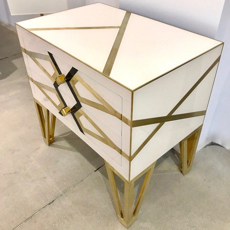 Modern Bespoke Cosulich Creation Gold Brass Black & White Side Tables/Nightstands, Pair For Sale