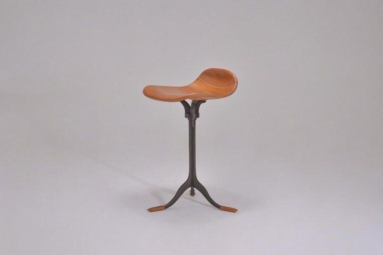 Bespoke Counter-Height Swivel Stool, Leather and Brass by P. Tendercool 2