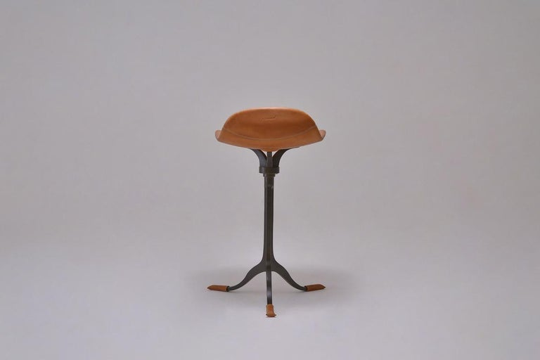 Thai Bespoke Counter-Height Swivel Stool, Leather and Brass by P. Tendercool For Sale