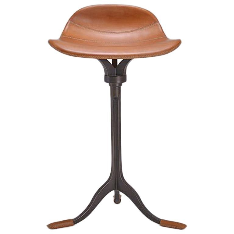 Bespoke Counter-Height Swivel Stool, Leather and Brass by P. Tendercool For Sale
