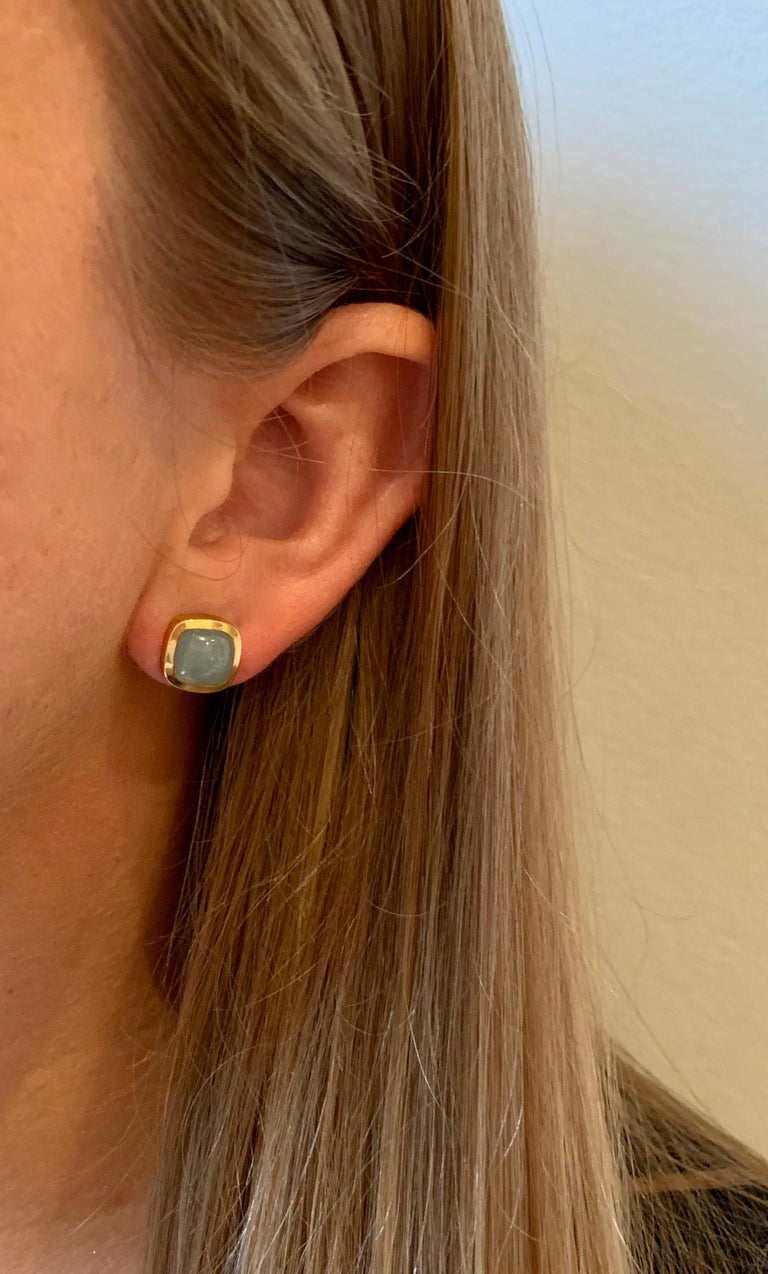 Women's Bespoke Cushion Cut Cabochon Aquamarine Bezel Earrings in 18 Carat Yellow Gold For Sale