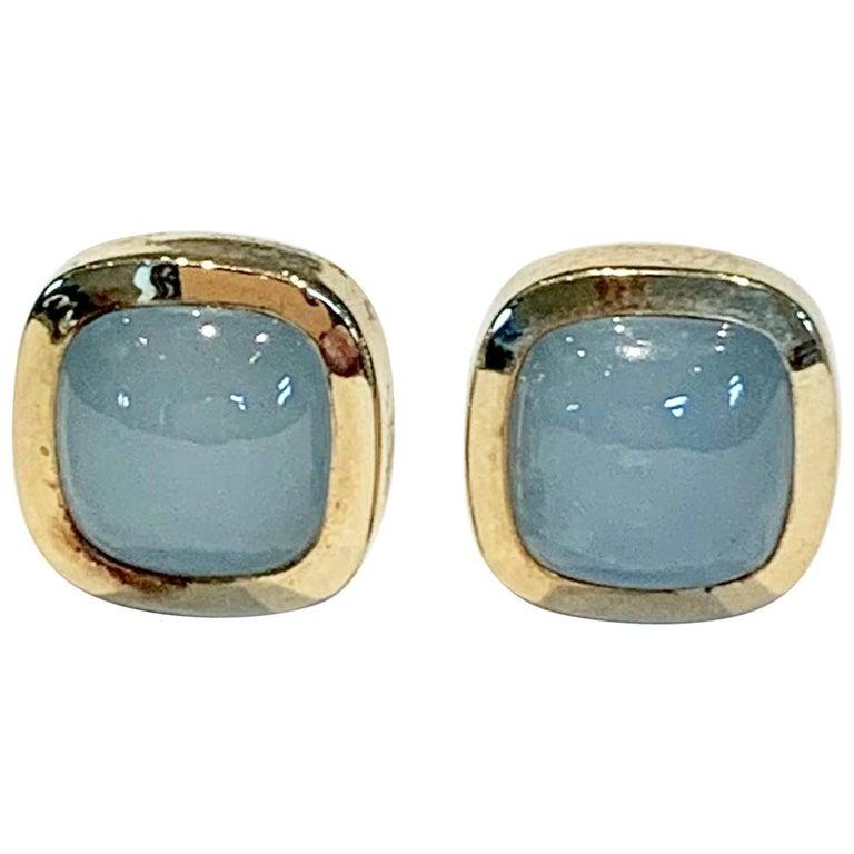 Bespoke Cushion Cut Cabochon Aquamarine Bezel Earrings in 18 Carat Yellow Gold For Sale