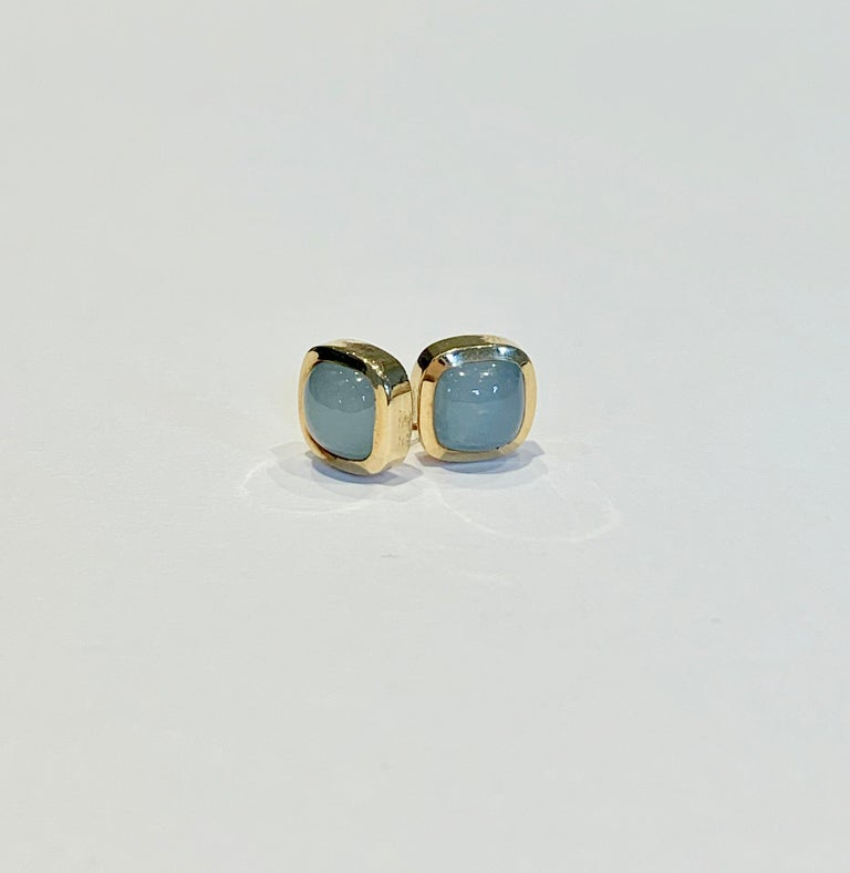Bespoke Cushion Cut Cabochon Aquamarine Bezel Earrings in 18 Carat Yellow Gold In New Condition For Sale In Chislehurst, Kent