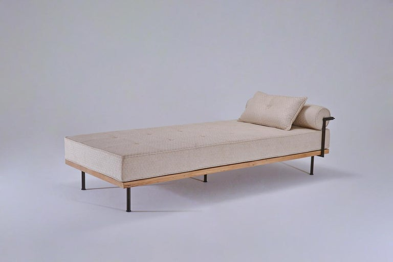 Mid-Century Modern Bespoke Daybed, Reclaimed Hardwood and Blackend Brass Frames For Sale