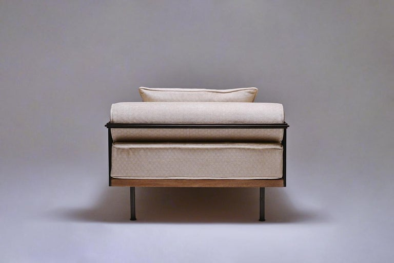 Contemporary Bespoke Daybed, Reclaimed Hardwood and Blackend Brass Frames For Sale