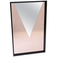 Bespoke Decorative Rectangular Geometrical Mirror Black Frame, Early 1980s