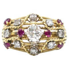 Bespoke Diamond and Ruby Encrusted 18 Karat Yellow Gold Ring
