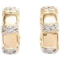 Bespoke Diamond Pave Oval-Hoop Yellow-Gold Earrings