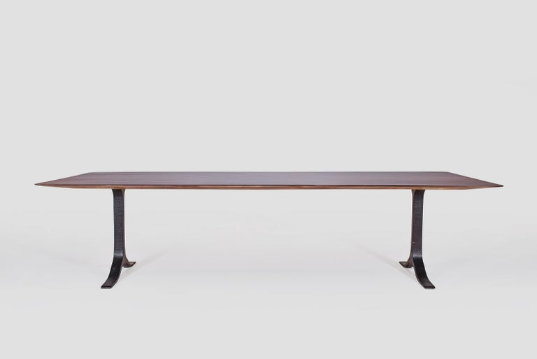 We just created this very sleek table exact dimensions we received from a French client for his new Bangkok home. After a few meetings during which we presented various material options our client opted to create the table top in reclaimed Burmese