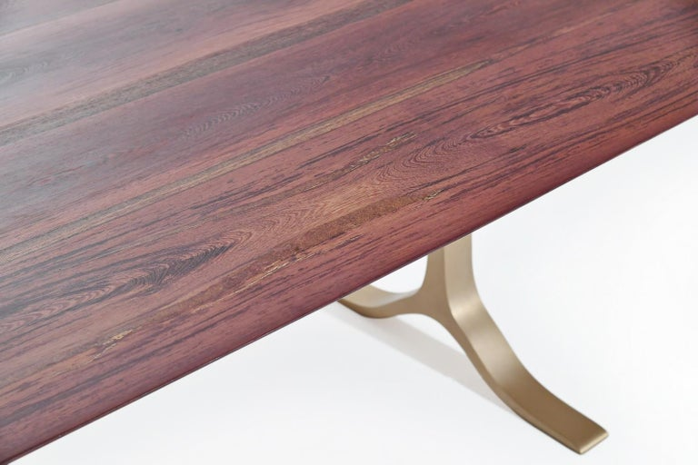 Minimalist Bespoke Dining Table, Reclaimed Wood, Sand Cast Brass Base, by P. Tendercool For Sale