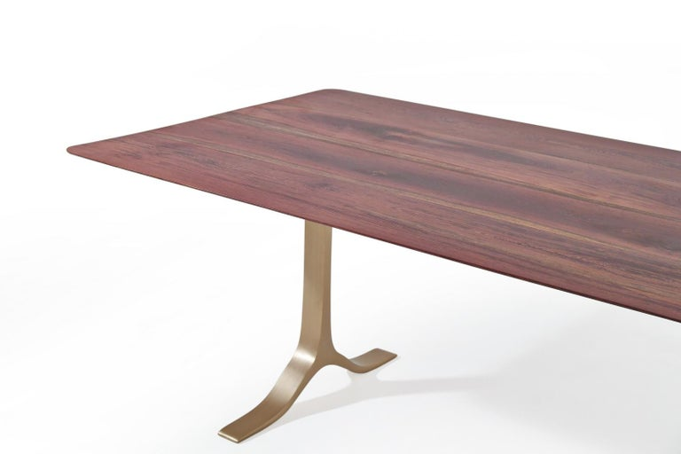 Thai Bespoke Dining Table, Reclaimed Wood, Sand Cast Brass Base, by P. Tendercool For Sale