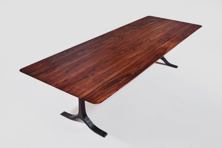 Bespoke Dining Table, Reclaimed Wood, Sand Cast Brass Base, by P. Tendercool In New Condition For Sale In Bangkok, TH