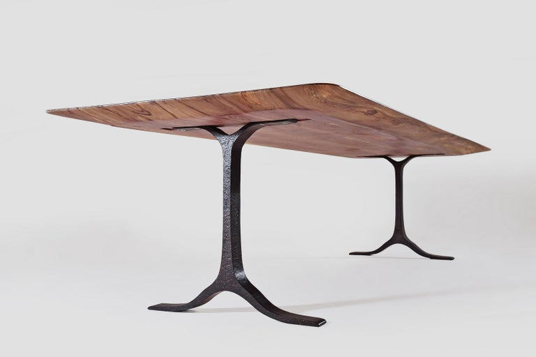 Contemporary Bespoke Dining Table, Reclaimed Wood, Sand Cast Brass Base, by P. Tendercool For Sale