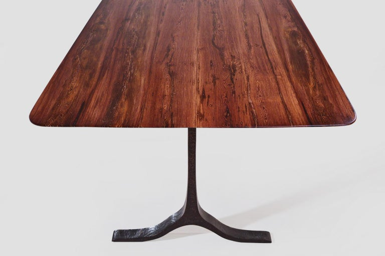 Bronze Bespoke Dining Table, Reclaimed Wood, Sand Cast Brass Base, by P. Tendercool For Sale