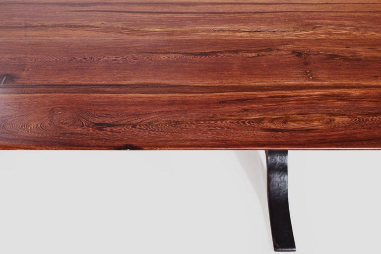 Bespoke Dining Table, Reclaimed Wood, Sand Cast Brass Base, by P. Tendercool For Sale 1