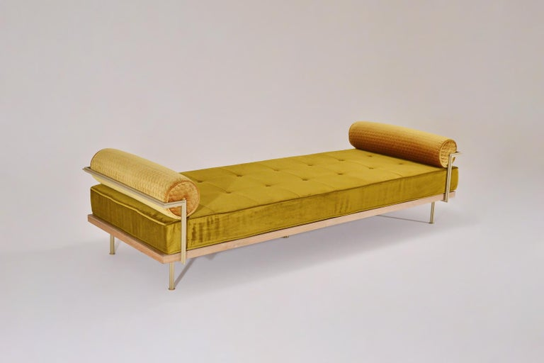Thai Bespoke Double Daybed in Reclaimed Hardwood and Solid Brass Frame, P.Tendercool For Sale