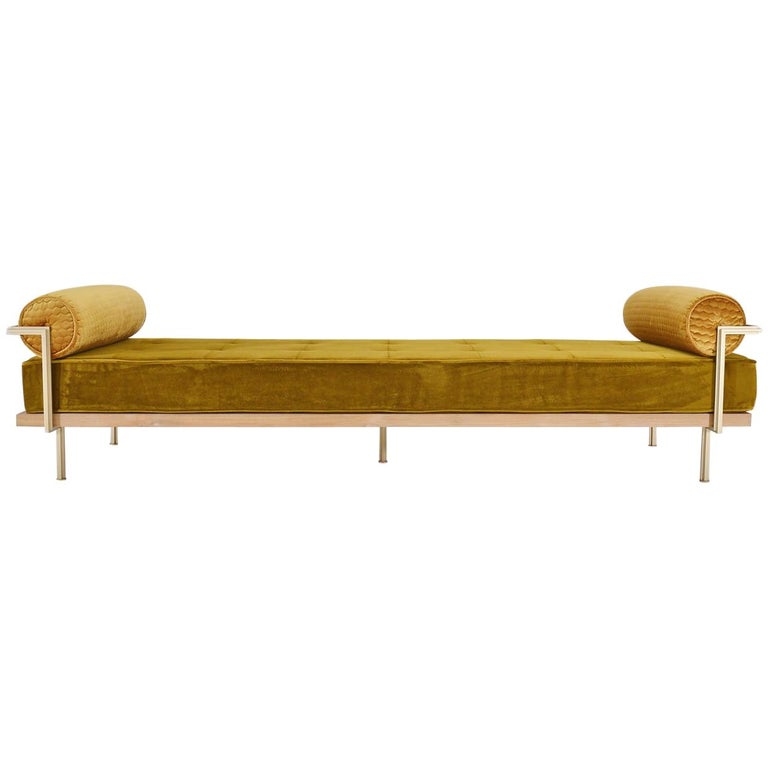 Bespoke Double Daybed in Reclaimed Hardwood and Solid Brass Frame, P.Tendercool For Sale
