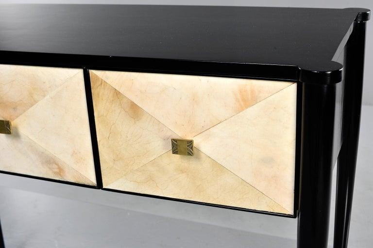 Wood Bespoke Ebonized Console with Vellum Drawers For Sale