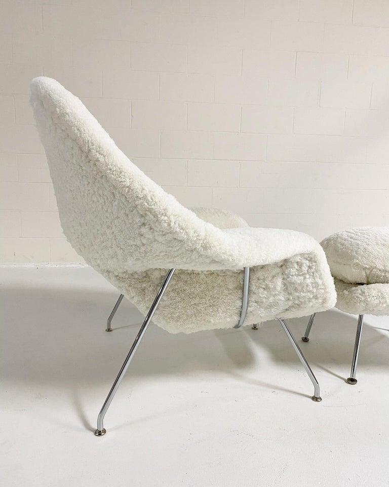 Bespoke Eero Saarinen Womb Chair and Ottoman in Australian Sheepskin For Sale 4