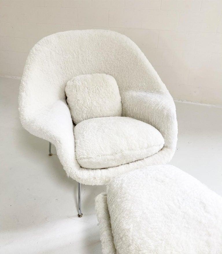 Bespoke Eero Saarinen Womb Chair and Ottoman in Australian Sheepskin For Sale 6