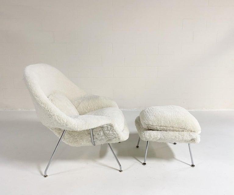Bespoke Eero Saarinen Womb Chair and Ottoman in Australian Sheepskin For Sale 8