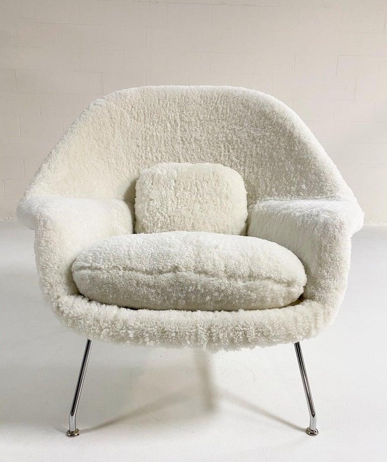 Contemporary Bespoke Eero Saarinen Womb Chair and Ottoman in Australian Sheepskin For Sale
