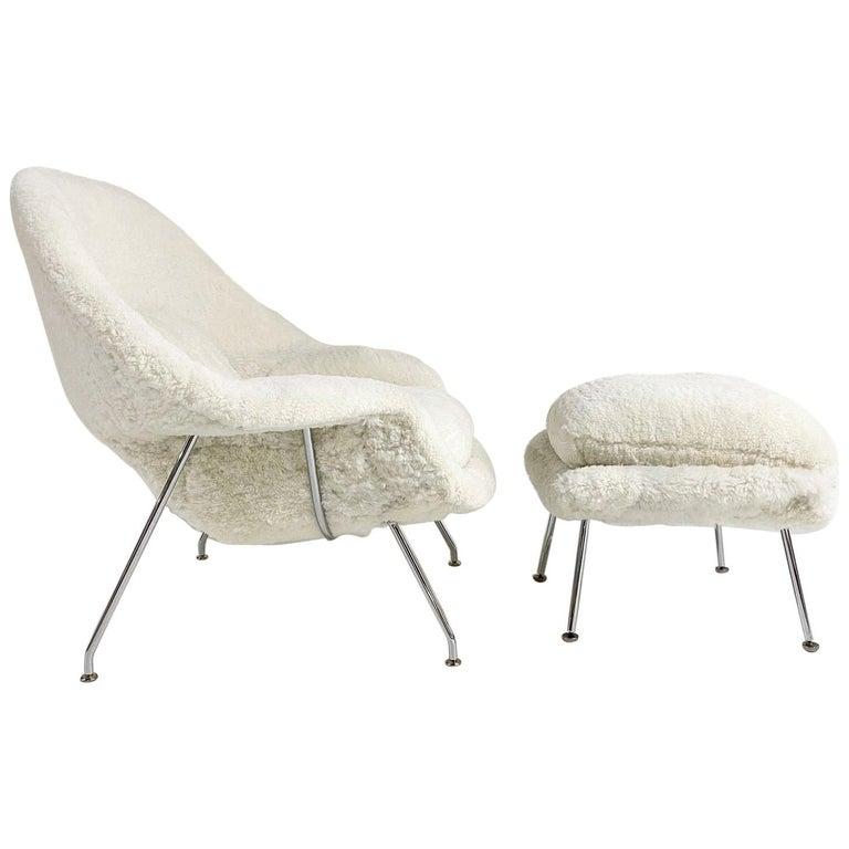 Bespoke Eero Saarinen Womb Chair and Ottoman in Australian Sheepskin For Sale
