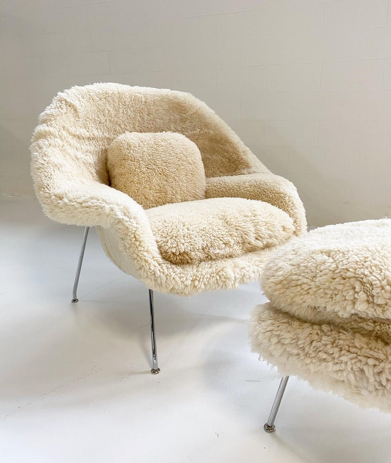 American Bespoke Eero Saarinen Womb Chair and Ottoman in California Sheepskin For Sale