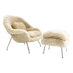 Bespoke Eero Saarinen Womb Chair and Ottoman in California Sheepskin