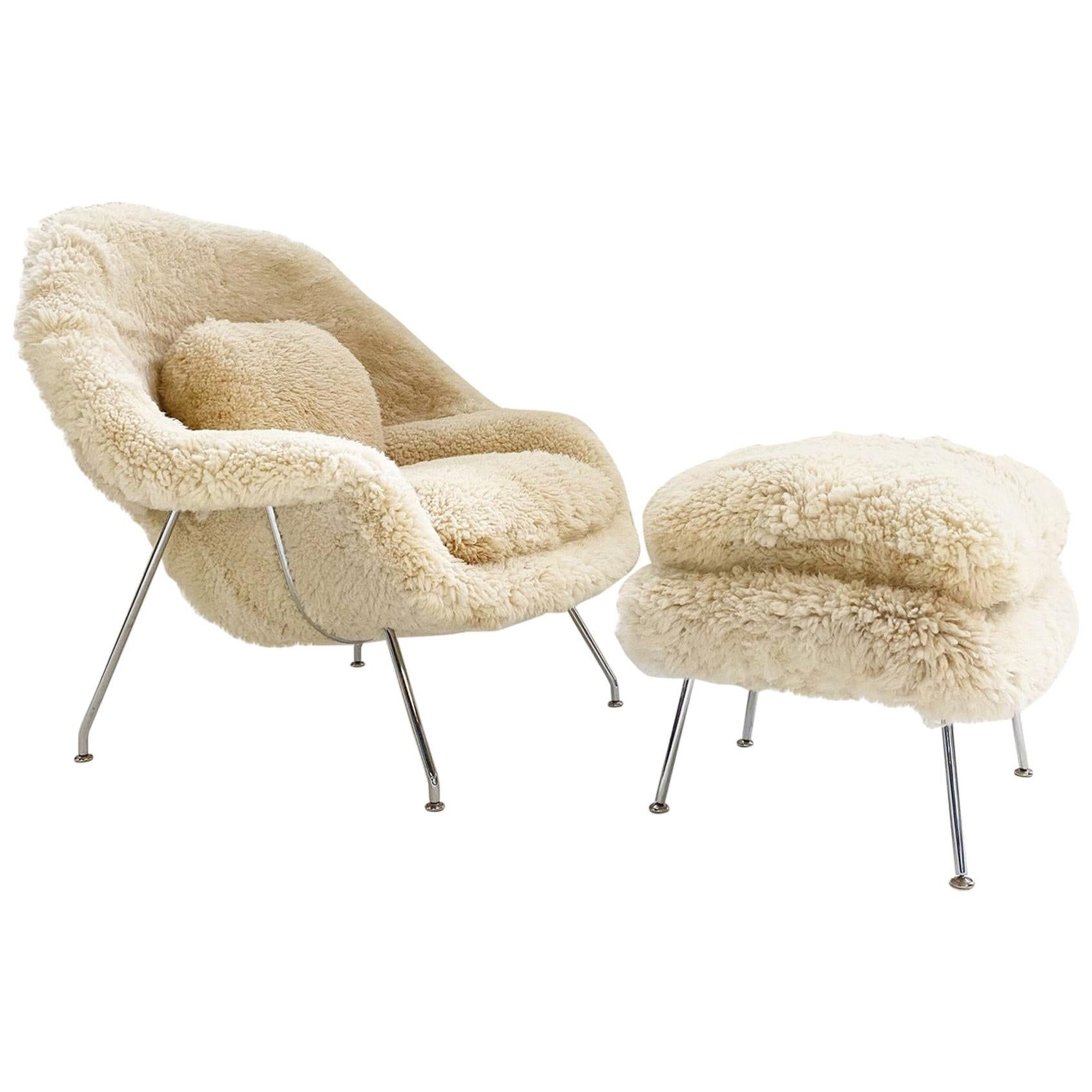 Bespoke Eero Saarinen Womb Chair and Ottoman in California Sheepskin