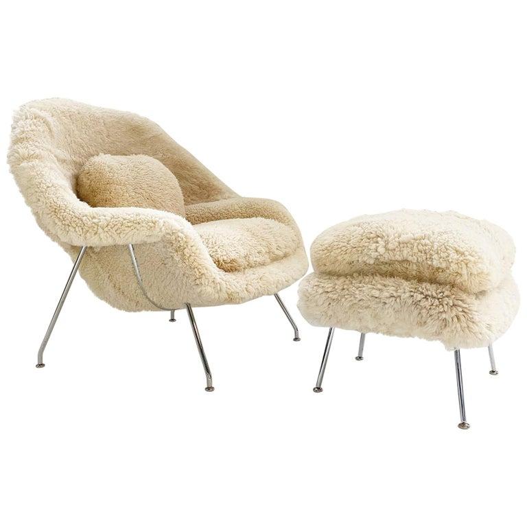 Bespoke Eero Saarinen Womb Chair and Ottoman in California Sheepskin For Sale