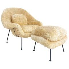 Bespoke Eero Saarinen Womb Chair and Ottoman in Texas Sheepskin