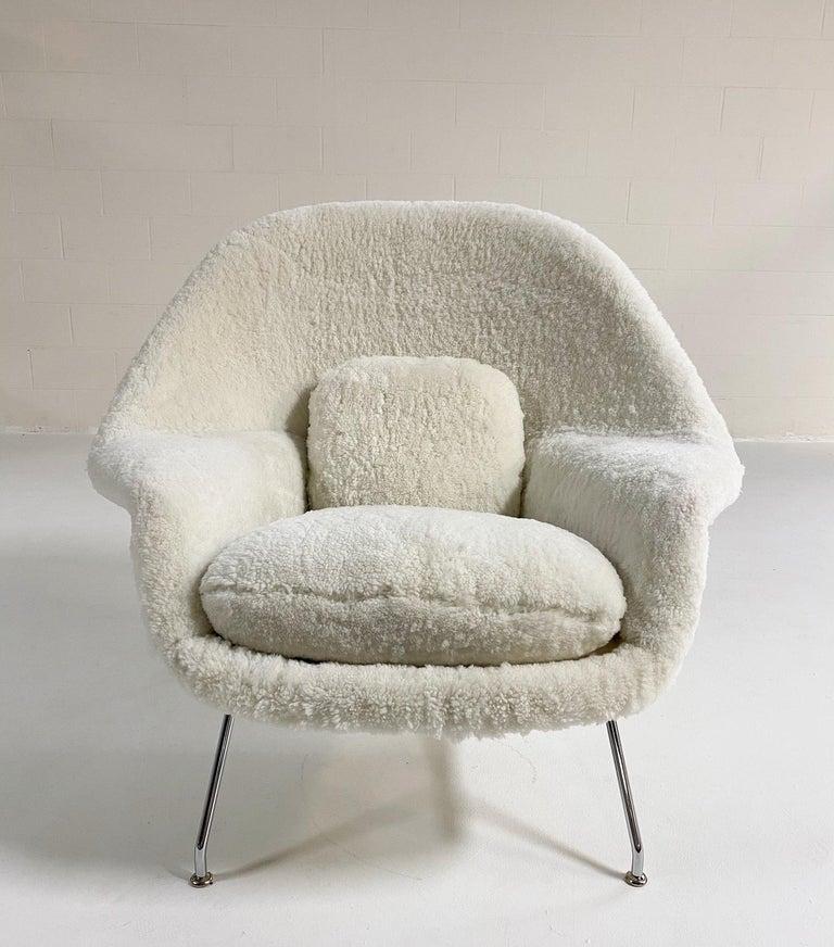 American Bespoke Eero Saarinen Womb Chair in Australian Sheepskin For Sale