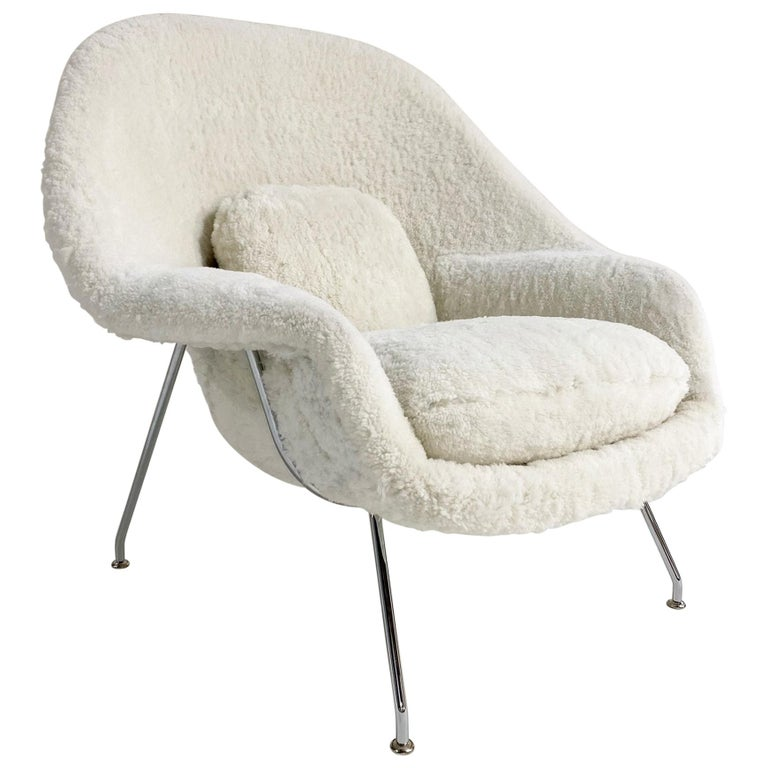 Bespoke Eero Saarinen Womb Chair in Australian Sheepskin For Sale