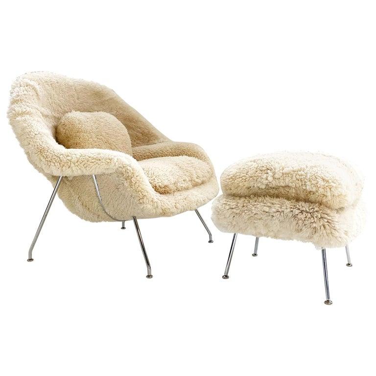 Bespoke Eero Saarinen Womb Chair Without Ottoman in California Sheepskin For Sale