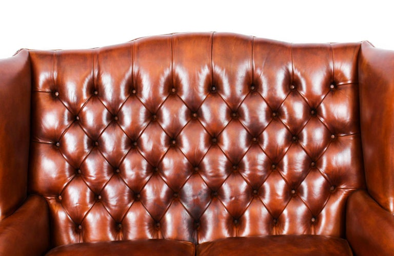 Bespoke English Hand Made 3 x Leather Suite Chippendale Bruciato For Sale 6